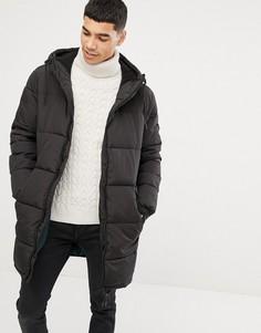 Черное дутое пальто с капюшоном Esprit - Черный
