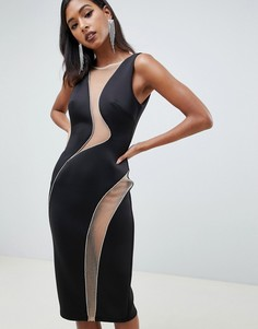 Облегающее платье миди с вырезами и отделкой стразами ASOS DESIGN - Черный