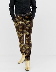 Бархатные зауженные брюки с цветочным принтом ASOS DESIGN - Черный