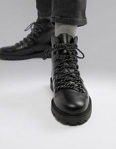 Кожаные походные ботинки Selected Homme - Черный
