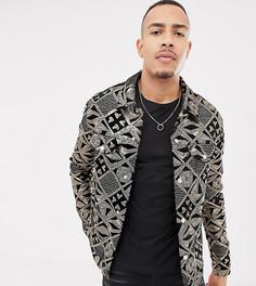 Черная велюровая куртка в стиле вестерн с золотистыми пайетками ASOS DESIGN Tall - Черный