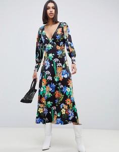 Платье макси с V-образным вырезом и принтом тигр ASOS DESIGN - Мульти