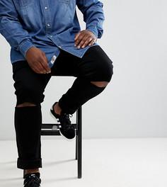 Джинсы скинни с рваной отделкой на коленях Jacamo Plus - Черный