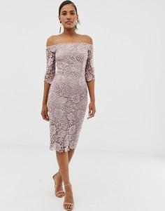 Ажурное кружевное платье-футляр миди Paper Dolls - Коричневый