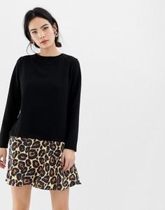 Платье-футболка 2 в 1 с леопардовым подолом и завязкой на спине ASOS DESIGN - Черный