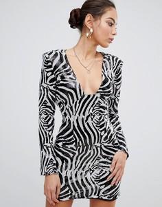Платье мини с пайетками, подплечниками и принтом зебра Missguided - Черный