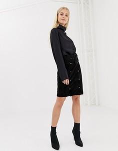 Замшевая юбка-карандаш с поясом Y.A.S - Черный