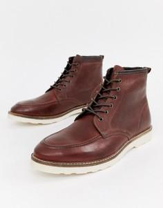 Коричневые кожаные ботинки на шнуровке с белой подошвой ASOS DESIGN - Коричневый