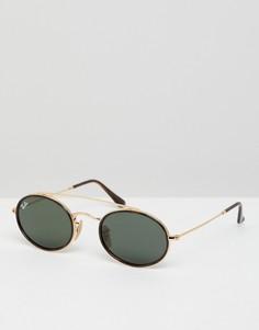 Круглые солнцезащитные очки с двумя планками сверху Ray-Ban 0RB3847N - Золотой