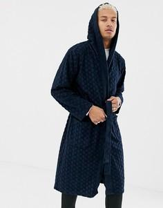 Махровый халат с логотипом BOSS - Темно-синий