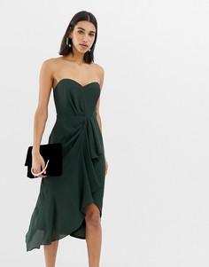 Платье-бандо миди с драпировкой спереди ASOS DESIGN - Зеленый