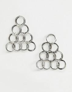 Серебристые серьги-подвески ASOS DESIGN - Серебряный