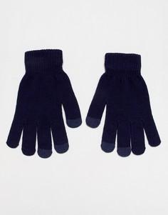 Темно-синие перчатки с отделкой для сенсорных гаджетов 7X - Темно-синий