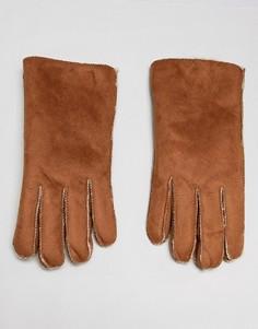 Светло-коричневые перчатки из искусственной замши с искусственной овечьей шерстью 7X - Рыжий