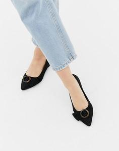 Туфли из искусственной замши на плоской подошве с пряжкой New Look - Черный
