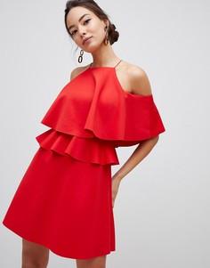 Короткое приталенное платье с высоким воротом ASOS DESIGN - Розовый