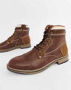 Светло-коричневые ботинки из искусственной кожи с меховой отделкой River Island - Рыжий