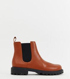 Светло-коричневые ботинки челси из искусственной кожи Monki - Оранжевый
