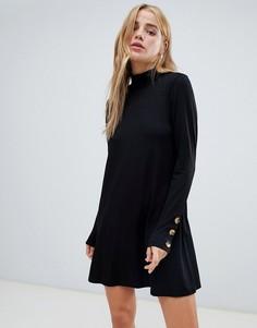 Черное свободное платье с высоким воротом и пуговицами Pull&bear - Черный