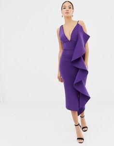 Фиолетовое платье миди с оборками и V-образным вырезом Lavish Alice - Фиолетовый