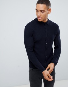 Фактурная трикотажная рубашка-джемпер Threadbare - Темно-синий