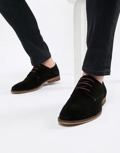 Черные замшевые туфли дерби Walk London - Черный