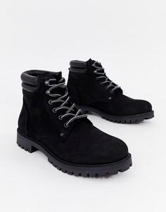 Ботинки из нубука на шнуровке Jack & Jones - Черный