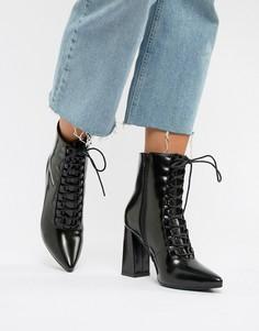 Остроносые ботинки на каблуке Truffle Collection - Черный