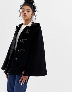 Полушерстяное пальто-кейп с пуговицами моржовый клык Gloverall - Черный