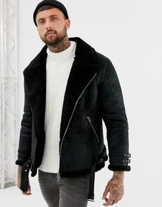 Байкерская куртка с подкладкой из искусственного меха ASOS DESIGN - Черный