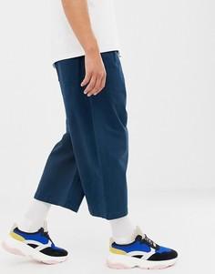 Темно-синие широкие укороченные брюки из плотной саржи ASOS WHITE - Синий