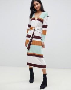Полосатое платье миди в рубчик в стиле 70-х с узелком ASOS DESIGN - Мульти