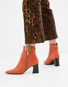 Кожаные ботинки на каблуке с молнией сбоку Depp - Оранжевый