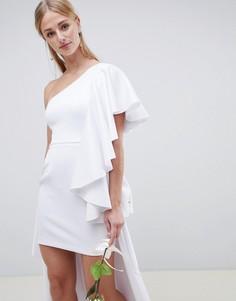 Асимметричное свадебное платье с оборкой ASOS EDITION Wedding - Белый