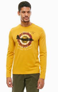 Желтая хлопковая футболка с круглым вырезом Aeronautica Militare