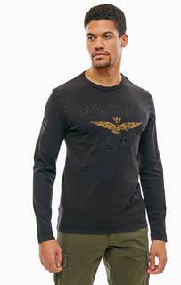 Черная хлопковая футболка с длинными рукавами Aeronautica Militare