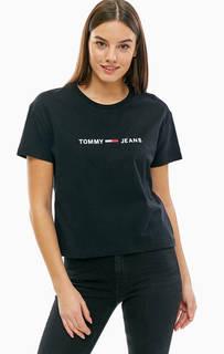 Укороченная хлопковая футболка с вышивкой Tommy Jeans