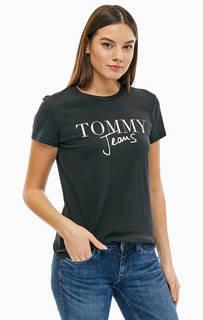 Черная хлопковая футболка с принтом Tommy Jeans