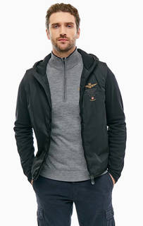 Легкая черная куртка на молнии Aeronautica Militare