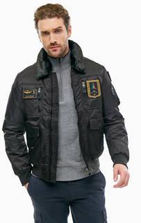 Черная куртка на молнии с карманами Aeronautica Militare