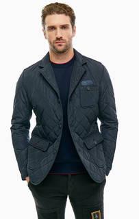 Синяя стеганая куртка на пуговицах Aeronautica Militare