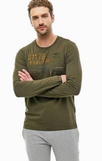 Хлопковая футболка цвета хаки с длинными рукавами Aeronautica Militare
