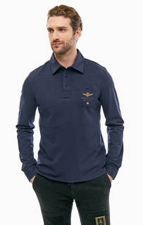 Синяя хлопковая футболка поло с длинными рукавами Aeronautica Militare