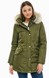 Зимний пуховик цвета хаки с карманами Tommy Hilfiger