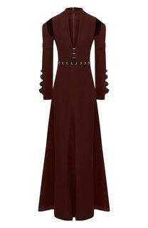 Платье-макси с глубоким вырезом с декоративной отделкой Chloé