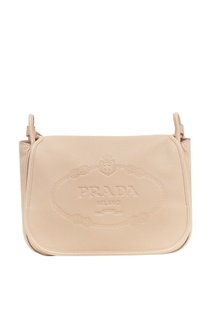 Бежевая сумка с тисненым логотипом Prada