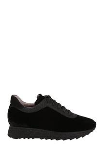 Черные кроссовки с отделкой Pertini