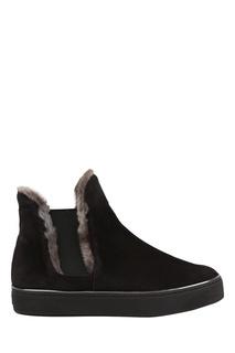 Черные ботинки с мехом Winter Stuart Weitzman