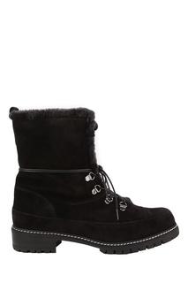 Черные замшевые ботинки с мехом Luge Stuart Weitzman