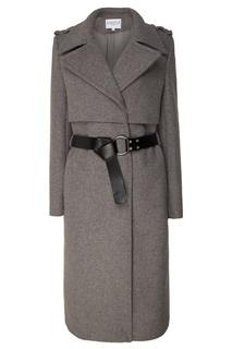 Серое пальто с поясом Claudie Pierlot